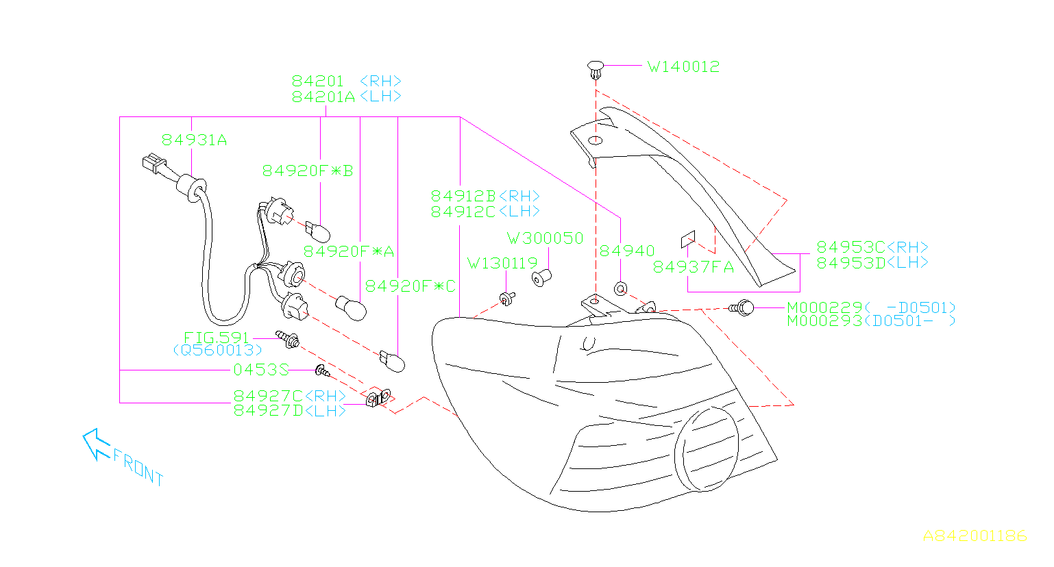 Diagram LAMP (REAR). '04MY-'05MY. for your 2003 Subaru Impreza (205) 5MT 4WD WRX Wagon